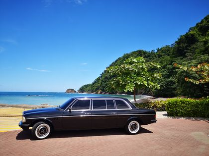 MERCEDES 300D LIMOUSINE AT THE BEACH IN COSTA RICA